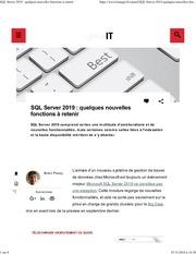 elesql server 2019   quelques nouvelles fonctions a retenir