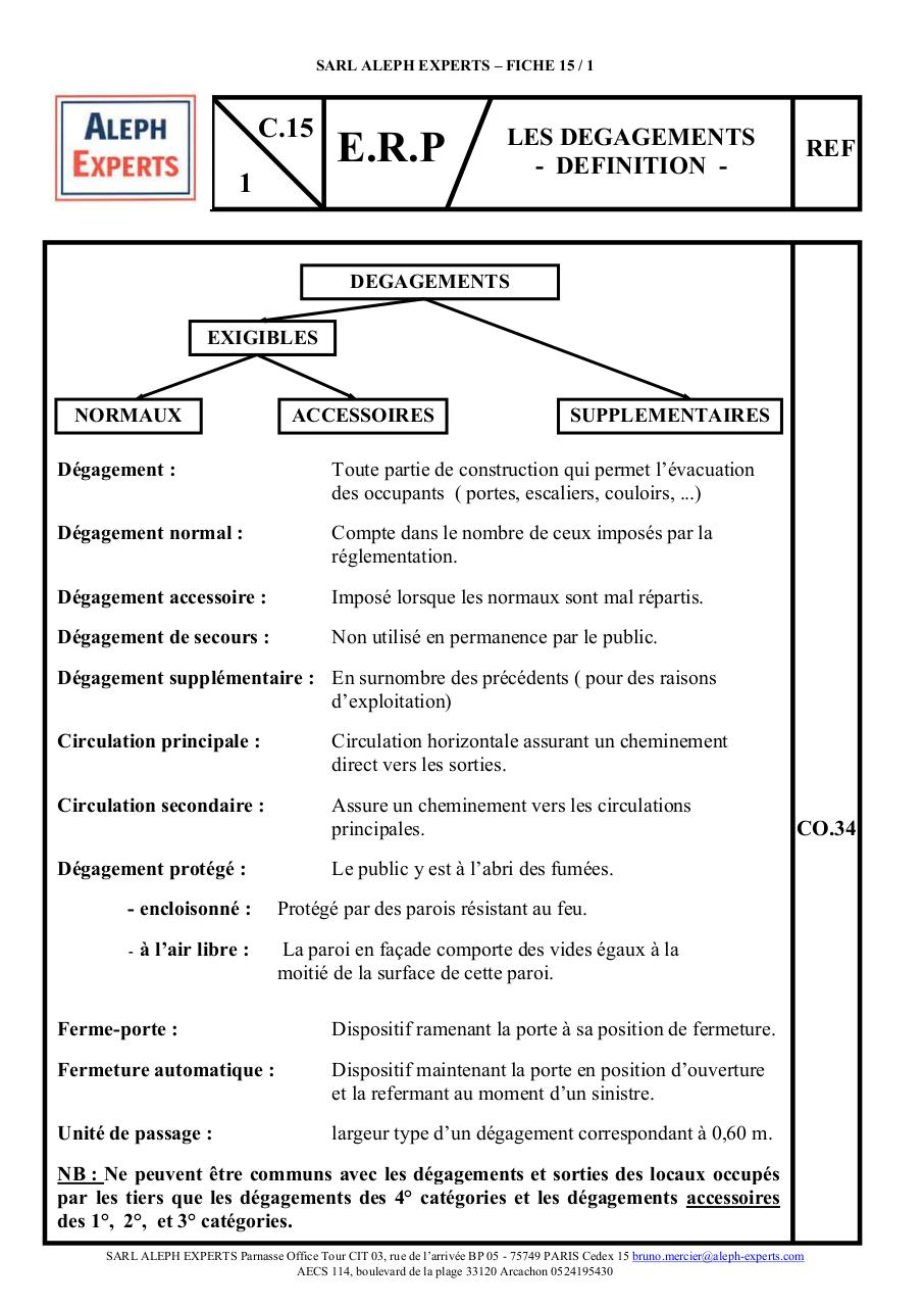 ALEPH EXPERTS - FICHE ERP 15-1 LES DEGAGEMENTS DEFINITION.pdf - page 1/2