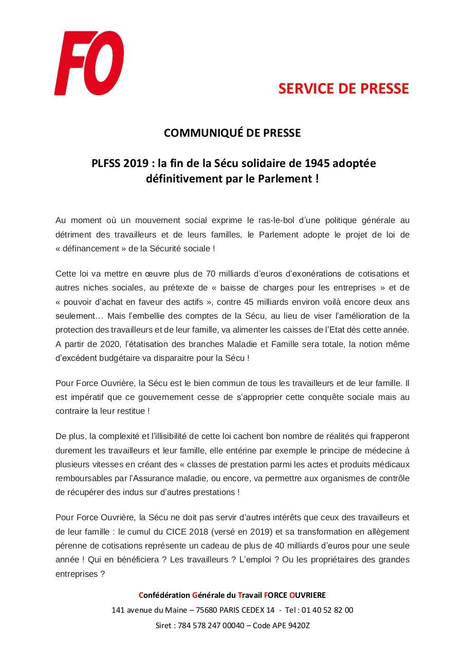 Cp Force Ouvrière Plfss 2019 Par Cecile Potters Fichier Pdf