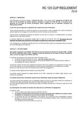 rc 125 cupreglement 2019