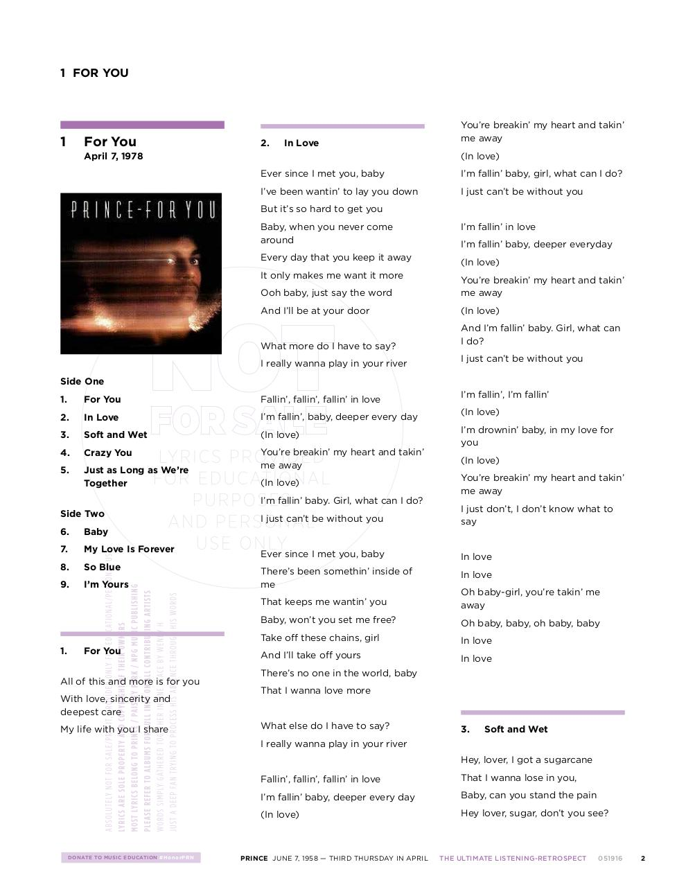 Prince Lyrics - Fichier PDF