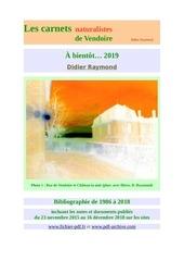 bibliographie carnets naturalistes vendoire 2018 d raymond