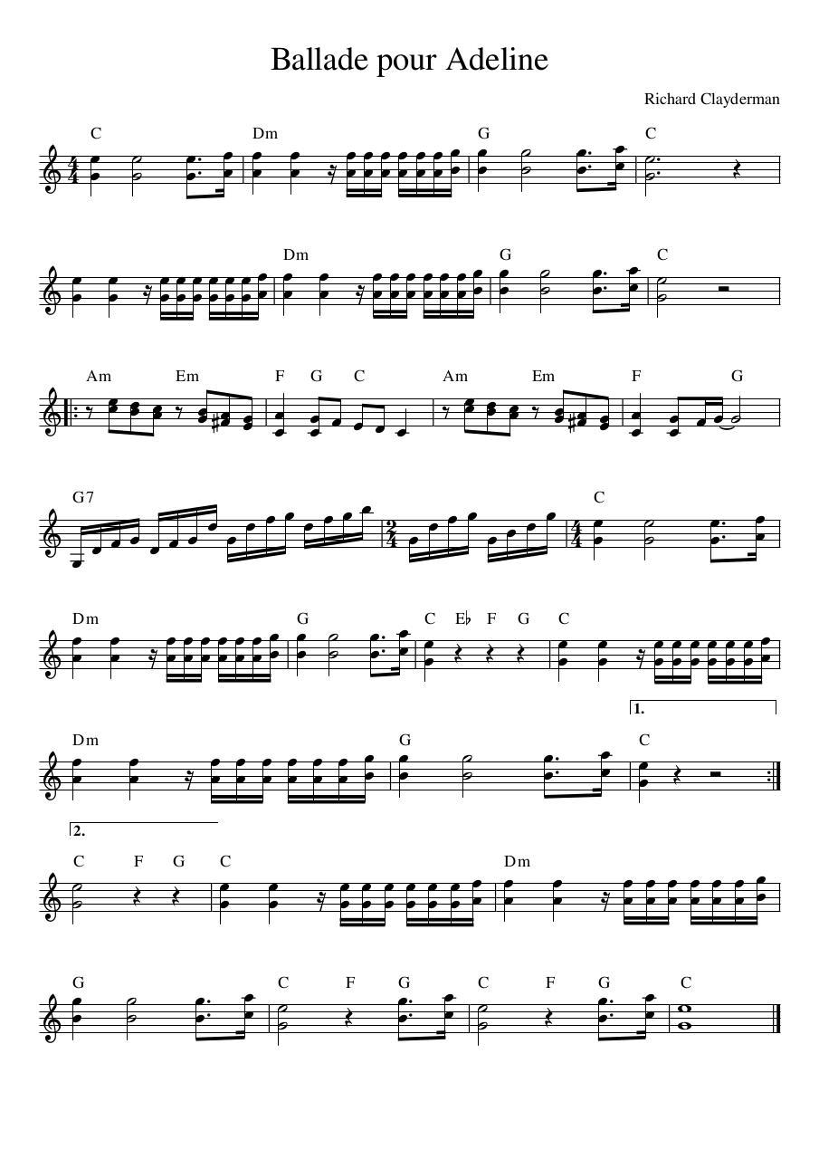 Ballade Pour Adeline Sheet Music Pdf