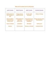 menu de la cantine du 14 janvier