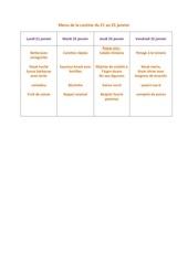 menu de la cantine du 21 janvier