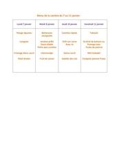 menu de la cantine du 7 janvier