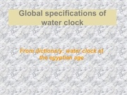 specificationswaterclock