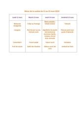 menu de la cantine du 11 mars