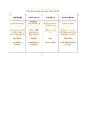 menu de la cantine du 4 mars
