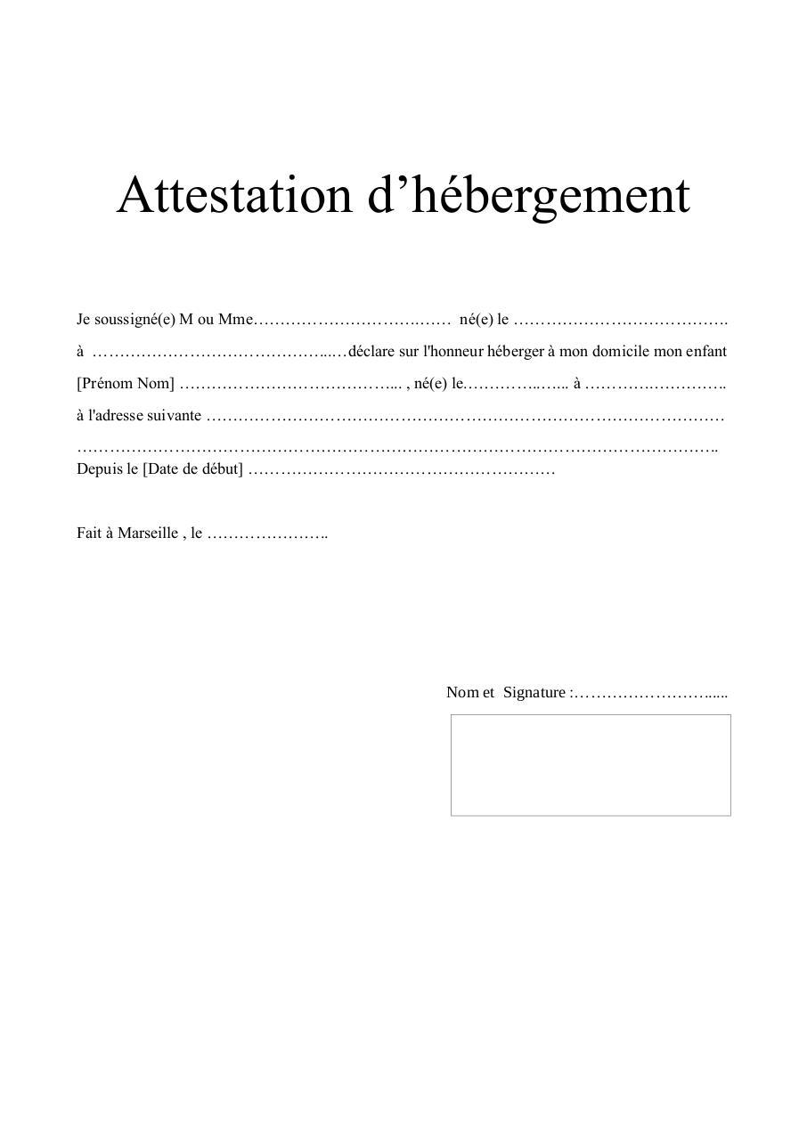 TELECHARGER MODEL ATTESTATION D HEBERGEMENT