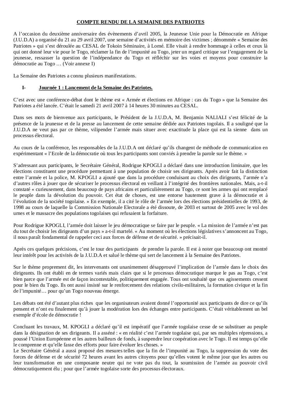 Exemple De Compte Rendu De Conférence Pdf - Exemple de Groupes