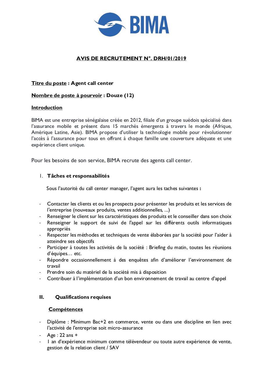 FICHE DE POSTE agent par Ndeye khady Toure - Fichier PDF