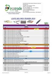 Fichier PDF liste des prix fevrier 2019