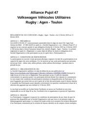 reglement alliance pujol 47   volkswagen vu   rugby