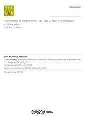 f p bowman  fourierismes et christianisme 1