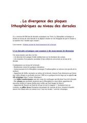 la divergence des plaques lithospheriques au niveau des dorsales