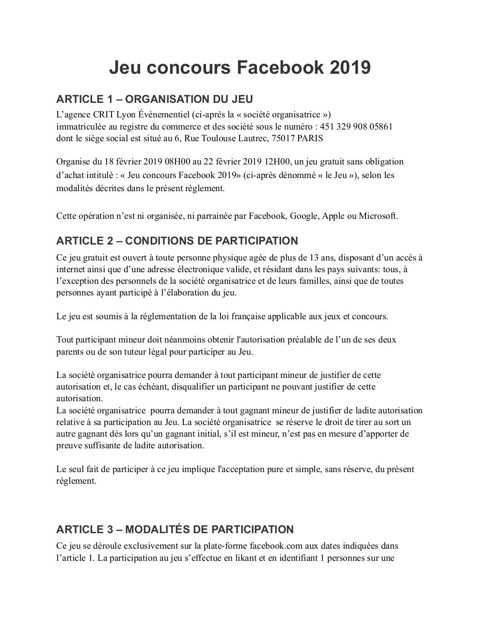 Reglement Jeu Concours Facebook 2019 Fichier Pdf