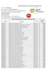 tarif cartons a plat weck janvier 2019