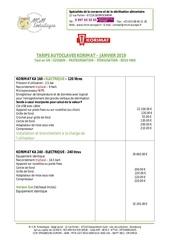 Fichier PDF tarifs autoclave korimat au 1er janvier 2019