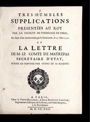 tres humble supplication presentee au roi  1730