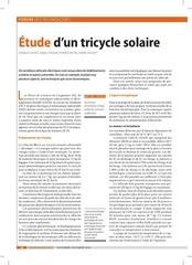 etude socio economique  tricycle solaire revue technologie