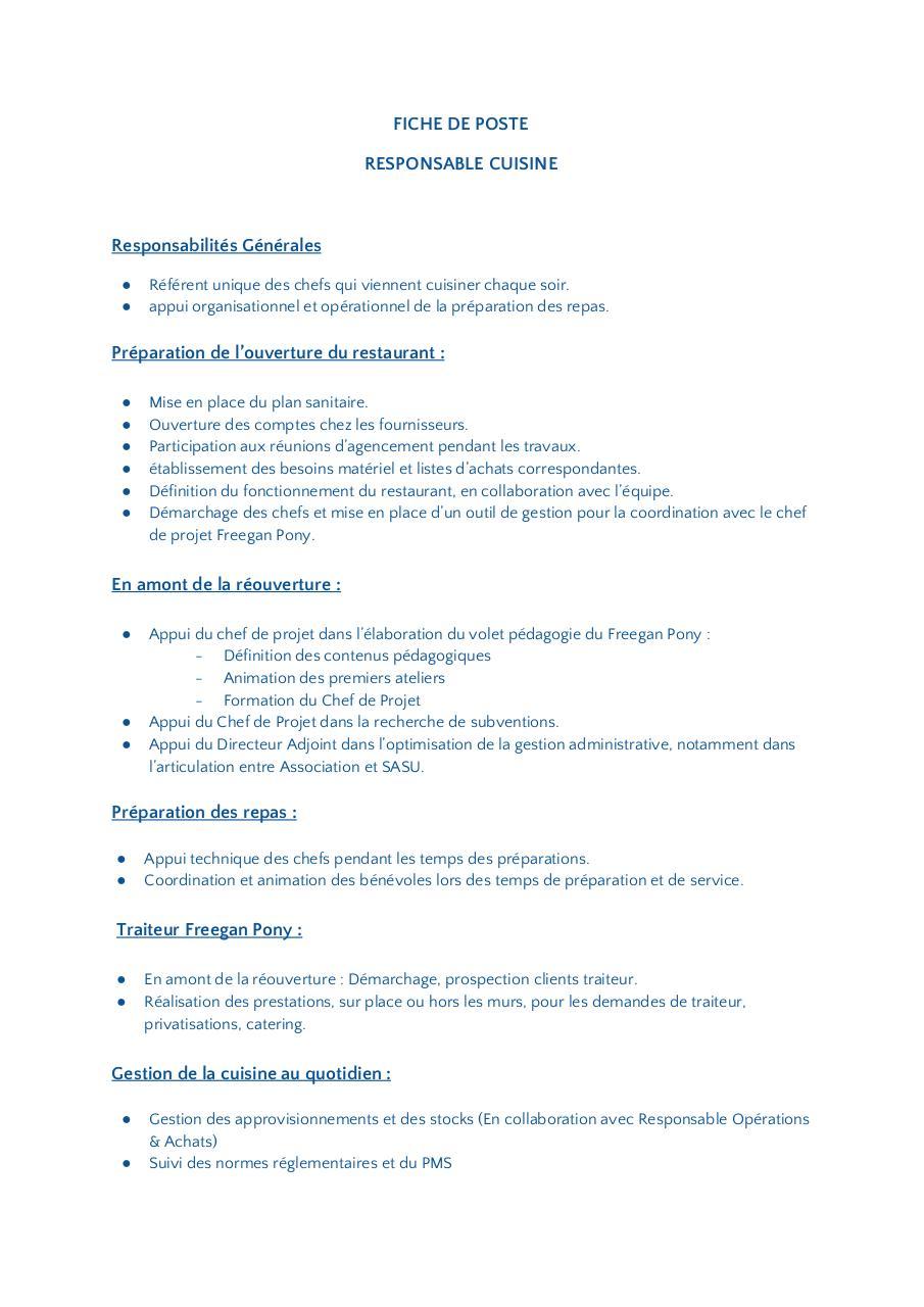 Fiche De Poste Responsable Cuisine Fichier Pdf
