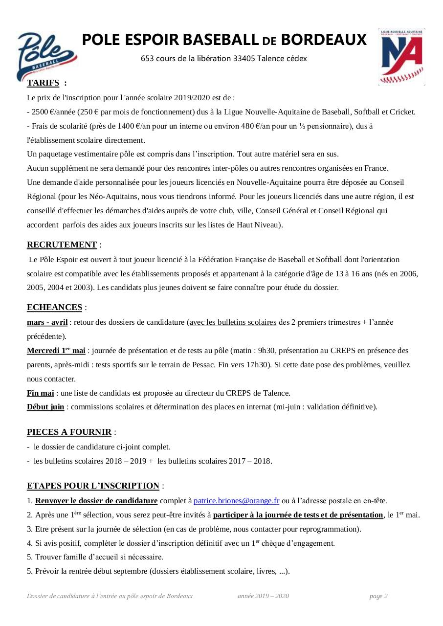 2019-2020 dossier candidat PE baseball Bordeaux.pdf - page 2/5