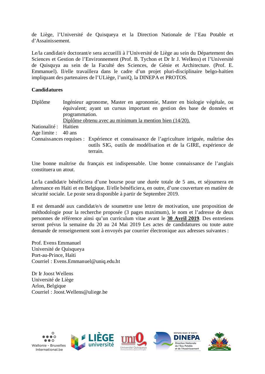 Appel à Candidat E Pour Une Bourse De Doctorat Wbi Haïti