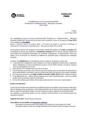 presentation licence   candidatures 2019