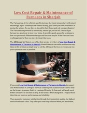 low cost repair  maintenance of furnaces in sharjah