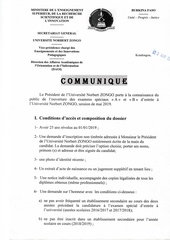 communique examen special a et b dentree a lunz 2019