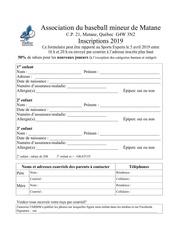 formulaire inscription 2019