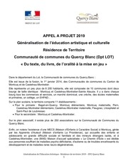 appel a candidature residence de territoire quercy blanc 2019