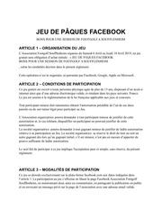 reglement jeu concours facebook
