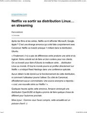elenetflix va sortir sa distribution linux en streaming