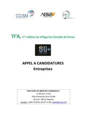 Fichier PDF appel a candidatures entreprises  salon tia 2019