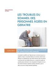 les troubles du sommeil des personnes agees en geriatrie