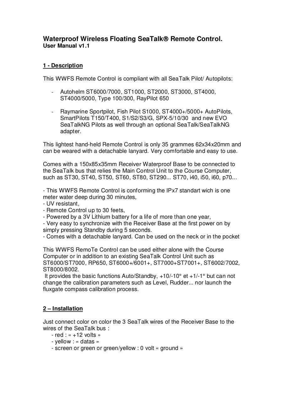WWS Remote Control User manual V1 0 par privqte - WWFS