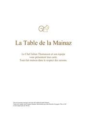 le table de la mainaz menu 20190419