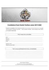 dossier candidature team nordic panthers saison 2019
