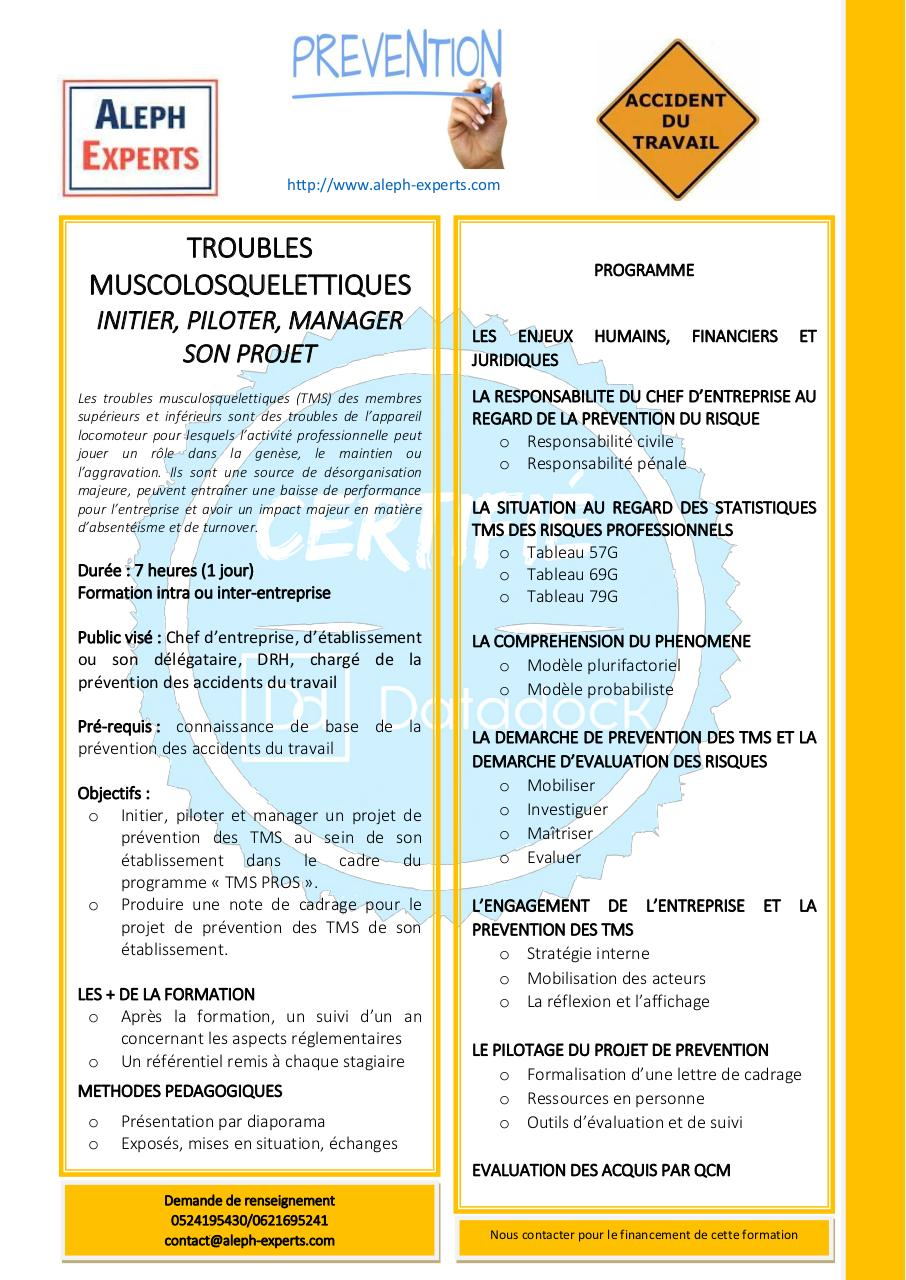 Aperçu du document TROUBLES MUSCULOSQUELETTIQUES INITIER PILOTER MANAGER SON PROJET DE PREVENTION - ALEPH EXPERTS.pdf - page 1/1