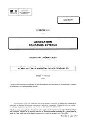 agregation externe  sujet  mathematiques generales  2019
