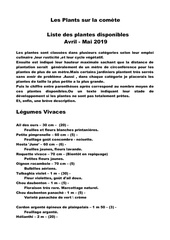 liste plantes avril 2019 2
