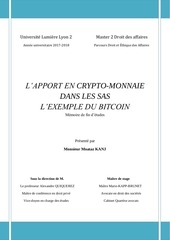 lapport en crypto monnaie dans les sas lexemple du bitcoin