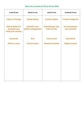 menu de la cantine du 20 au 24 mai 2019