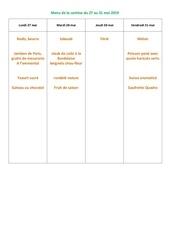 menu de la cantine du 27 au 31 mai 2019