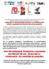 les syndicats du 93 s unissent contre la loi blanquer