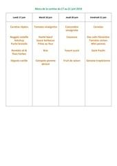 menu de la cantine du 17 au 21 juin 2019