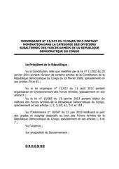nomination des officiers subalternes des fardc confirmation