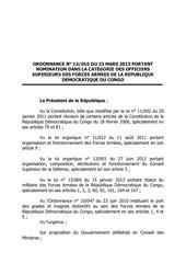 nomination des officiers superieurs des fardc confirmation